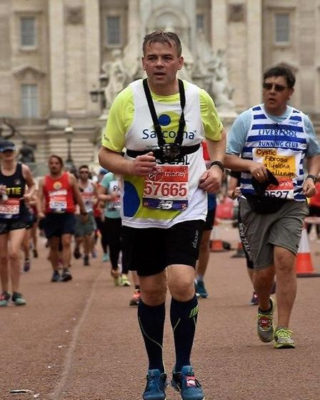 Pascal Canevet running his first London marathon last year (2018)