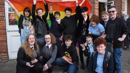 Norwich Pride youngsters at the Ian McKellen show at Norwich Playhouse. Picture: DENISE BRADLEY
