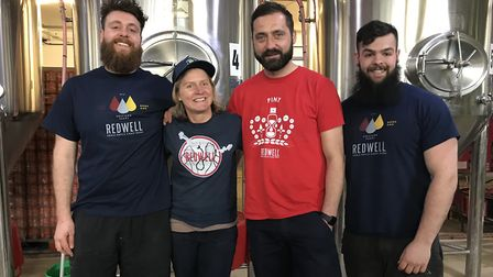 The brewing team at Redwell brewery in Trowse. From left to right: Steven Dobinson, Belinda Jennigs