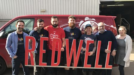 The team at Redwell brewery in Trowse. From left to right: Ben Hopkins (Managing director), William