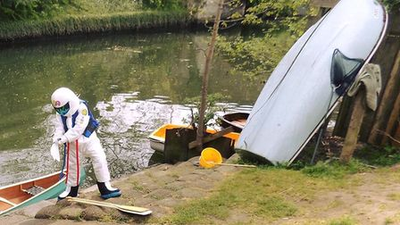 'The Stig' spotted in the River Wensum Credit: Alan Forster