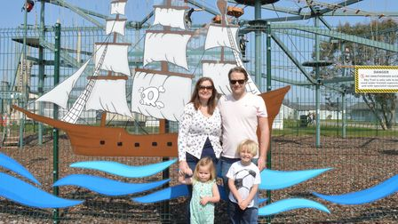Hayley Clarke with her husband and two children, Polly and Stanley, at Hemsby Holiday Park