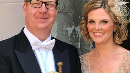 Mr Blackadder pictured before the ceremony with soprano soloist Elin Manahan-Thomas, who accompanied