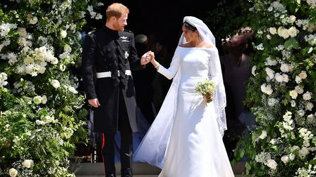 Prince Harry and Meghan Markle leaving at St. George's Chapel in Windsor Castle after their wedding