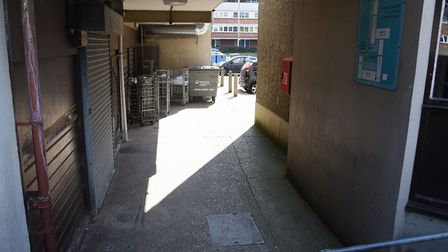 The alley to Suffolk Square behind the shops. Picture: DENISE BRADLEY