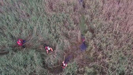 The moment the rescue team approached missing man Peter Pugh after a police drone found him stuck in