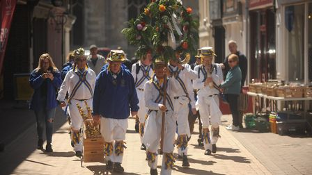 After dancing the King's Morris parade through the streets of Lynn. Picture: Ian Burt