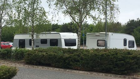 Travellers are at Costessey Park and Ride site. Pic: Dan Grimmer.