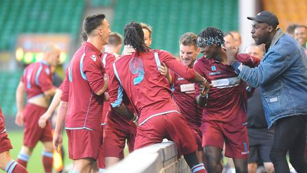 The Thetford celebrations after Robbie Priddle's goal get into full swing