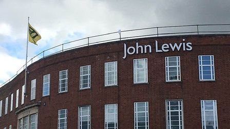 The Norwich City flag flies over John Lewis. Pic: Tim Youngman.