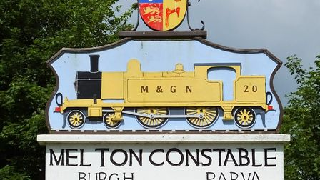 On the village sign, under the name Melton Constable, appears the name of the ancient parish of Burg