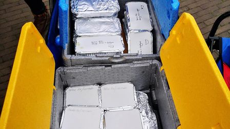 The food donated by Pedro's ready to give to homeless people in the city Credit: Carol McWhinnie