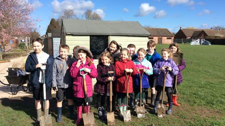 Year 3 at Mattishall Primary School, with the help of Robert French, have planted 105 trees on the s