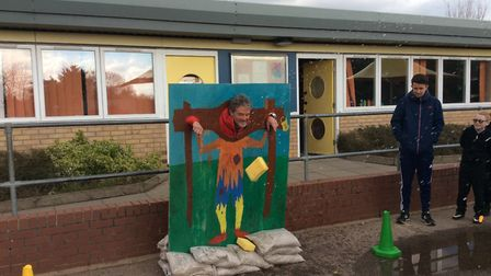 Pupils at Catton Grove Primary School had the pleasure of throwing wet sponges at their Headteacher