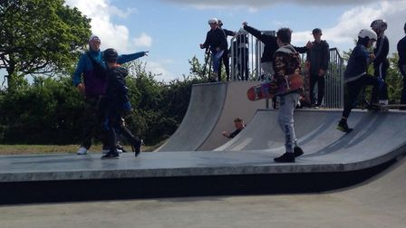 Local skaters showed off their finest skate tricks and dropped in on the freshly-laid ramp. Picture: