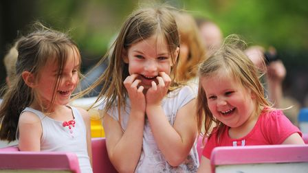 The family May Day Fair at Heigham Park. Darcie Fitzpatrick-Warnes, 6, left; her sister Elsa, 3, rig