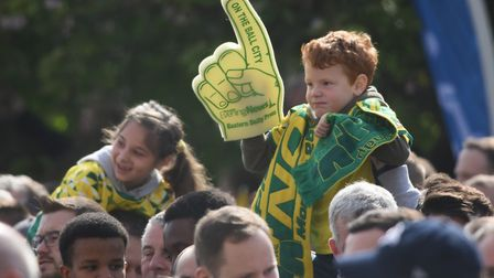 Norwich City fans celebrate the club's rise to the Premier League at the event at City Hall. Picture