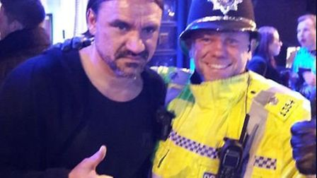 Norfolk police pass on their congratulations to NCFC boss Daniel Farke while on patrol in Prince of
