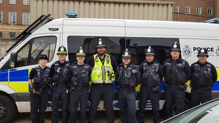 Great Yarmouth police officers join the Norwich City promotion parade. Picture: Norfolk Constabulary