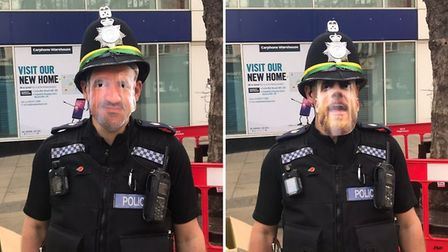 Norfolk police getting into the celebratory spirit at the Norwich City promotion parade. Picture: No