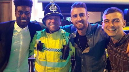Norfolk police pass on their congratulations to NCFC players while on patrol in Prince of Wales Road