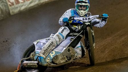 Erik Riss lead a brave effort from King's Lynn Stars in the Bank Holiday meeting at Ipswich Picture: