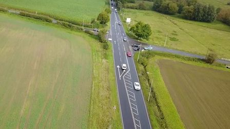 The existing stretch of the A140 near Long Stratton where 10 accidents have happened in five years a