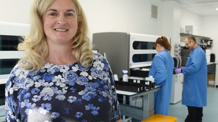 Viki Frew in the HPV Lab at the Cotman Centre, where cervical smear samples are prepared for testing