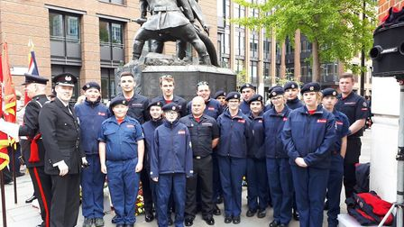 Fire Cadets from Diss and Wymondham at the national Firefighters Memorial in London. Picture: Norfol