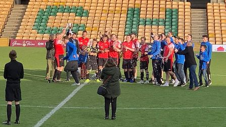 This Is For You FC played at Carrow Road to raise money for Super Strong Sophie. Picture: This Is Fo