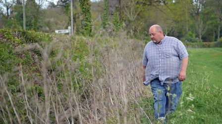 The Morley Farms clean water project. Pictured: Farm manager David Jones inspects a ditch which has