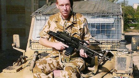 Phillip Gough outside the accommodation block in Basra Palace. He was a private in the Territorial A
