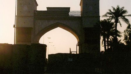 The main gate at Basra Palace, one of Saddam Hussein's luxury villas which was taken over by coalit