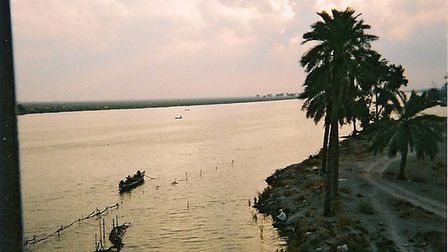 The Shatt al Arab river just outside Saddam Hussein's waterside Basra Palace Picture: Phillip Gough