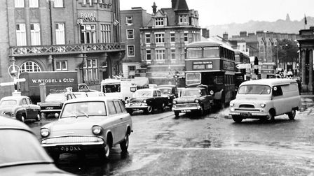 Looking down Prince of Wales Road from Agricultural Hall Plain and it can be seen that the traffic t