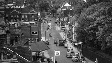 Prince of Wales Road taken from the top of the Post Office building in Thorpe Road. Dated 9 June 19