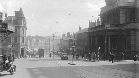 Tram lines on Prince of Wales Road beyond the Grand Royal Hotel 1930's Photo: Archant Library