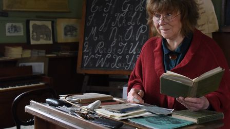 Sally North in her Victorian School at Great Cressingham, which she has been running for 25 years. P