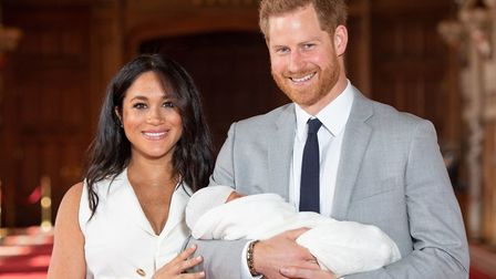 The Duke and Duchess of Sussex with their baby son, who they have called Archie. Photo: Dominic Lipi