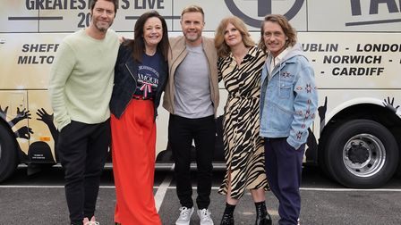 Tracey Hornigold (second on the right) and her friend Tracey Curson met Take That. Photo: ITV