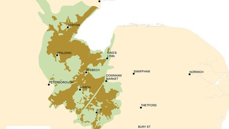 The NFU has launched a report on Food and Farming in the Fens. Map by Naomi Stevenson, Natural Engla