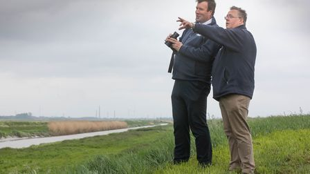 Fens farmer Michael Sly [right] with NFU vice president Stuart Roberts [left] at the launch of the
