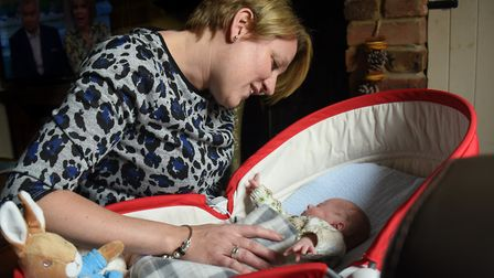 Lisa Harwood Bird of Gayton with her premature son Stanley born at 23 weeks, who is now 12-weeks-old