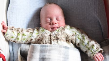 Premature baby Stanley Harwood, 12-weeks-old, who was born at 23 weeks. Picture: DENISE BRADLEY