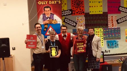 Olly Day brought his road safety magic show to Aldborough school. Here he meets the teachers. L-R, S