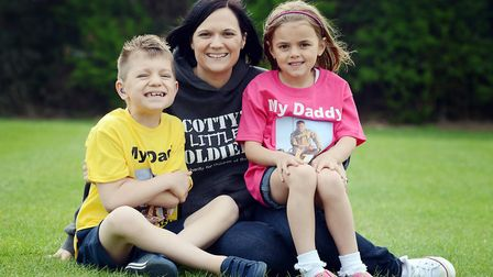 Nikki Scott of Scotty's Little Soldiers, with her children Kai and Brooke, pictured in 2014 Picture: