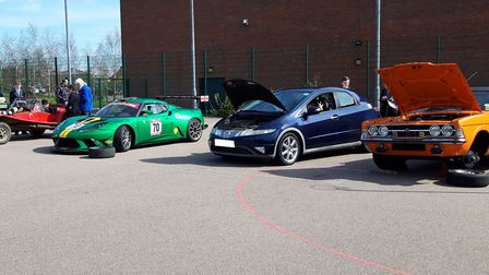 Some of the cars brought along to a motorsport careers day at Open Academy in Norwich. Picture: Rick