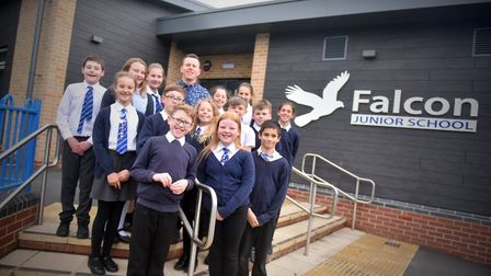 Rob Clarke, head teacher, with pupils from Falcon Junior School, Norwich. PICTURE: Jamie Honeywood
