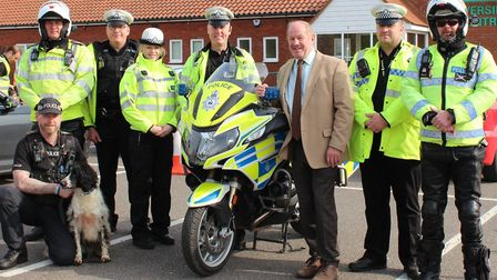 Suffolk PCC Tim Passmore and Sgt Julian Ditcham (centre), with RAPT and dog unit officers during Ope