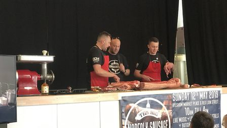 Event co-organisers, Johnny Payne, Charlie Hodgson and Jason Gibbons during the butchers demo at Ayl